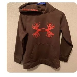 Under Armour brown hoody youth large